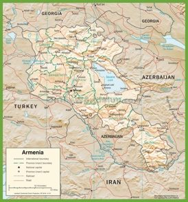 Political map of Armenia with provinces