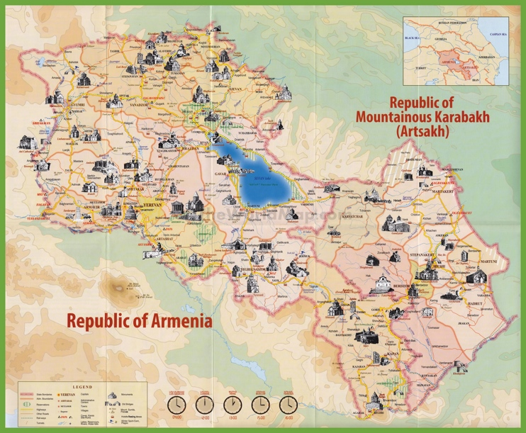 Tourist map of Armenia with sightseeings
