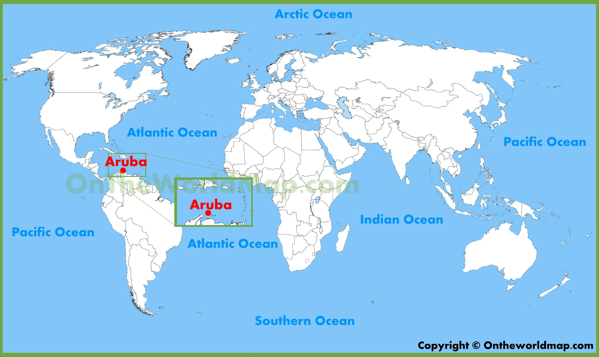 Aruba location on the World Map