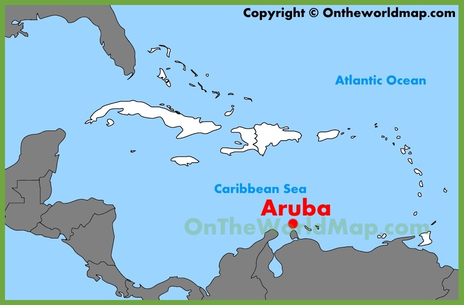 Aruba location on the Caribbean map