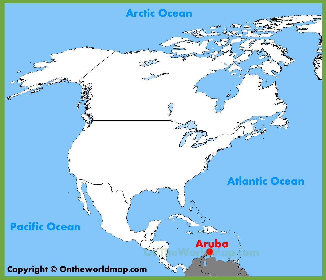 Aruba On A Map Aruba location on the North America map