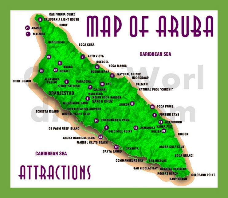 Aruba map with attractions