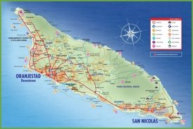 Large detailed tourist map of Aruba