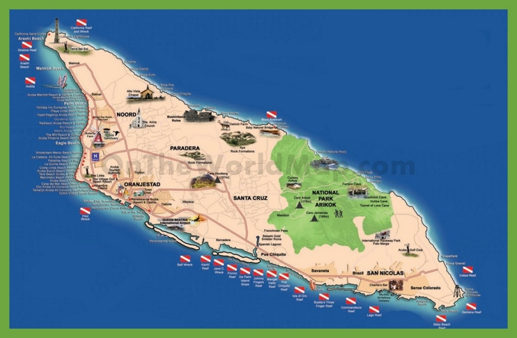 Tourist map of Aruba