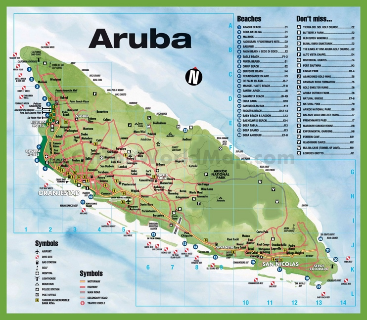 Map Of Islands Around Aruba