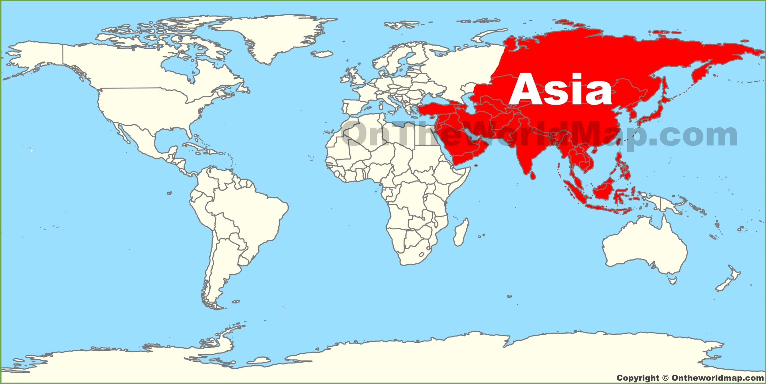Asia location on the World Map