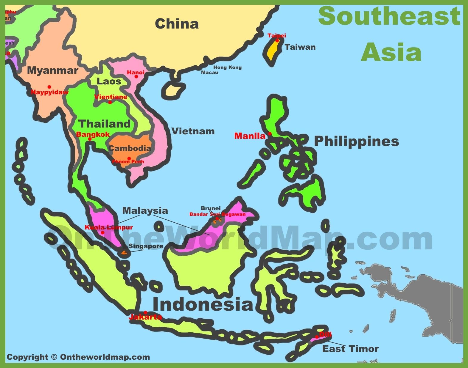 Southeastern Asia Map Map of Southeast Asia (Southeastern Asia)