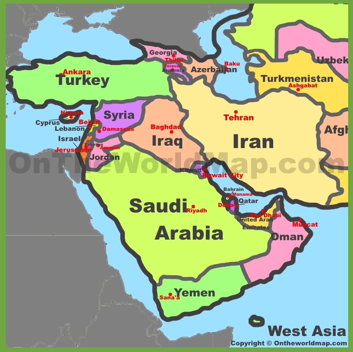 West Asia Map Map of West Asia (Western Asia)