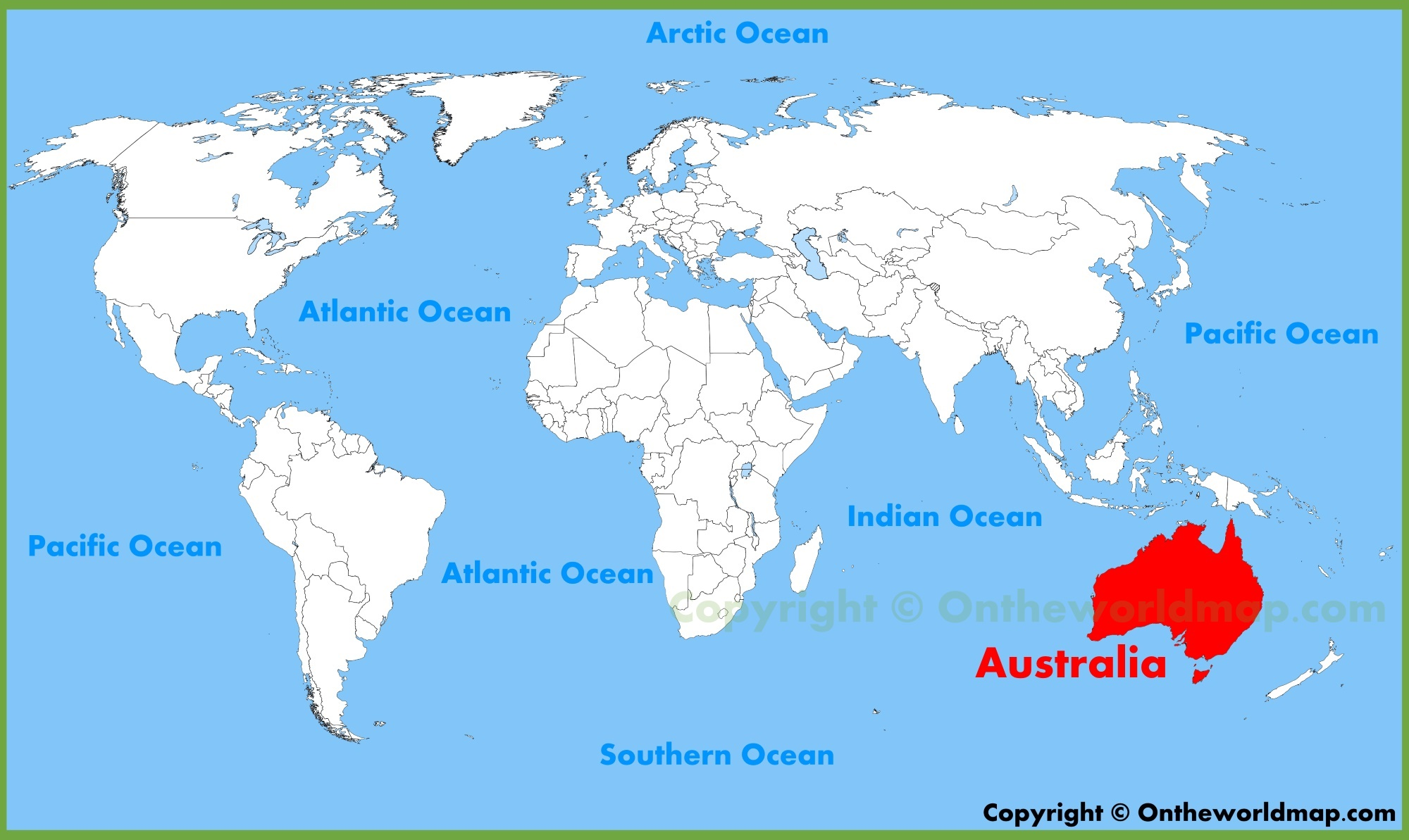 Australia Location On The World Map - Australia in world map