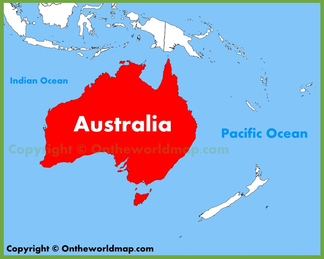 Australia In World Map.Australia Location On The Oceania Map