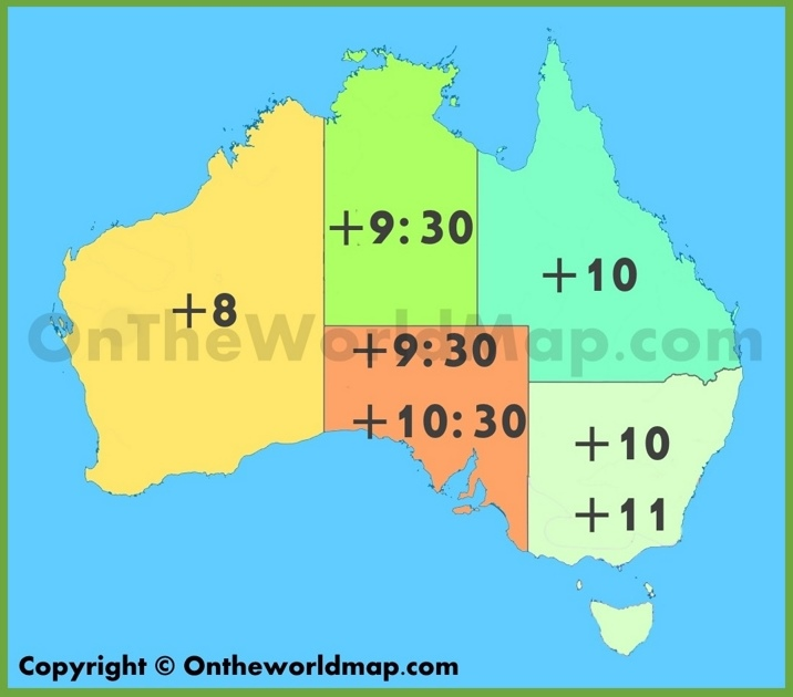Australia Map Time Zones.Australian Time Zone Map
