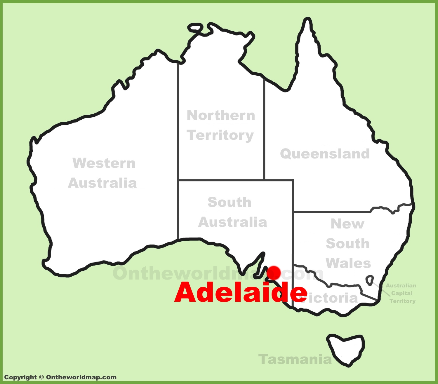 adelaide location on the australia map