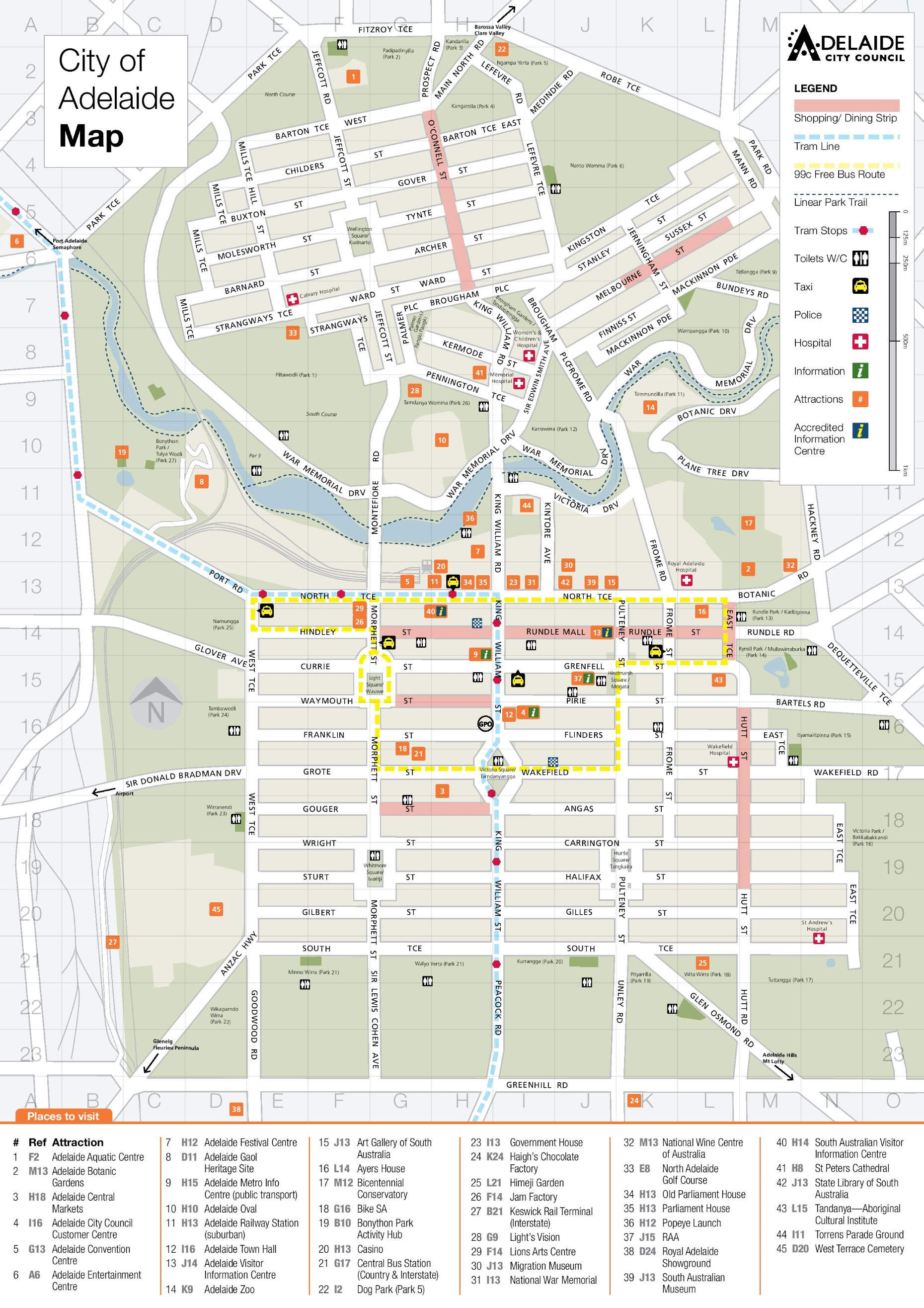 Adelaide tourist attractions map
