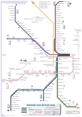 Adelaide train and tram map