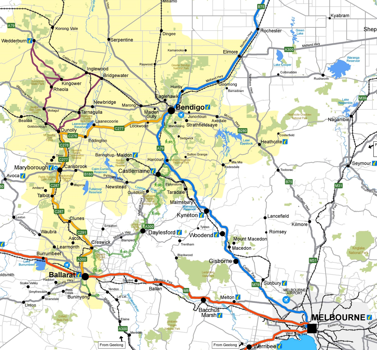 Bendigo area road map