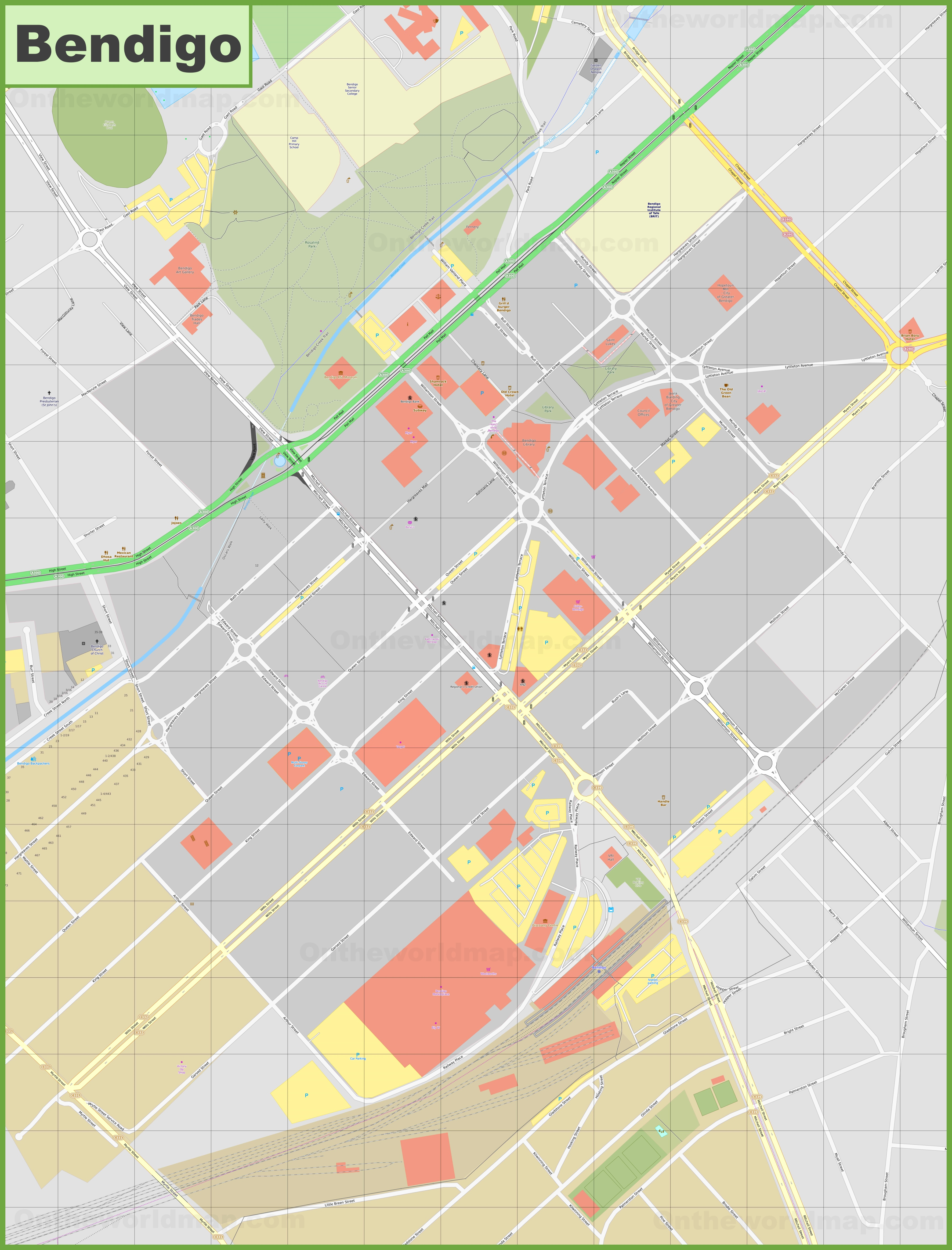 Bendigo CBD map