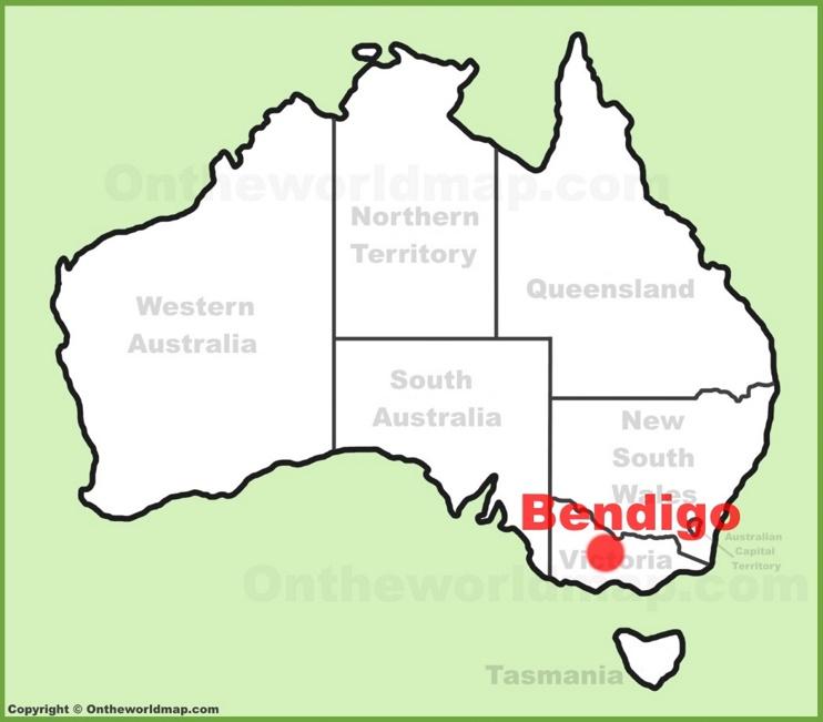 Bendigo location on the Australia Map