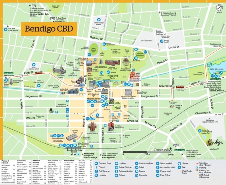 Bendigo sightseeing map