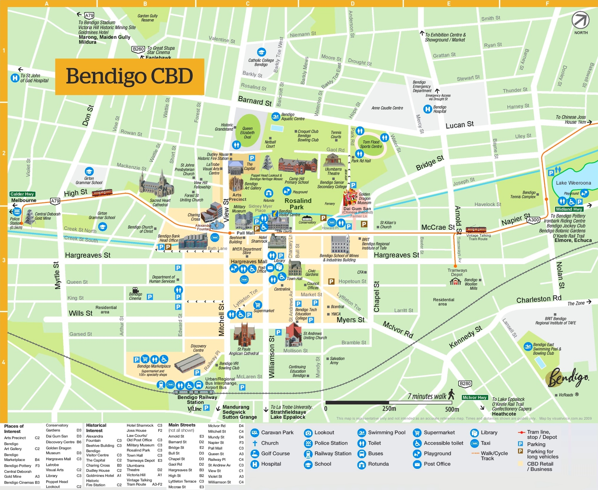 Bendigo sightseeing map