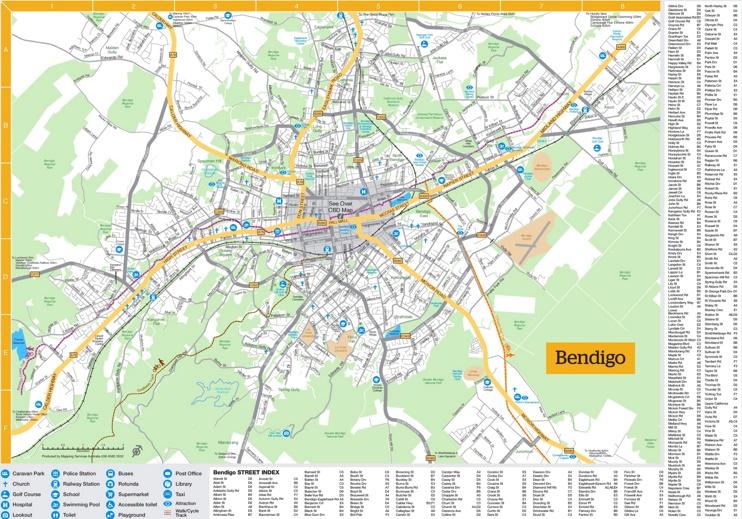 Bendigo tourist map