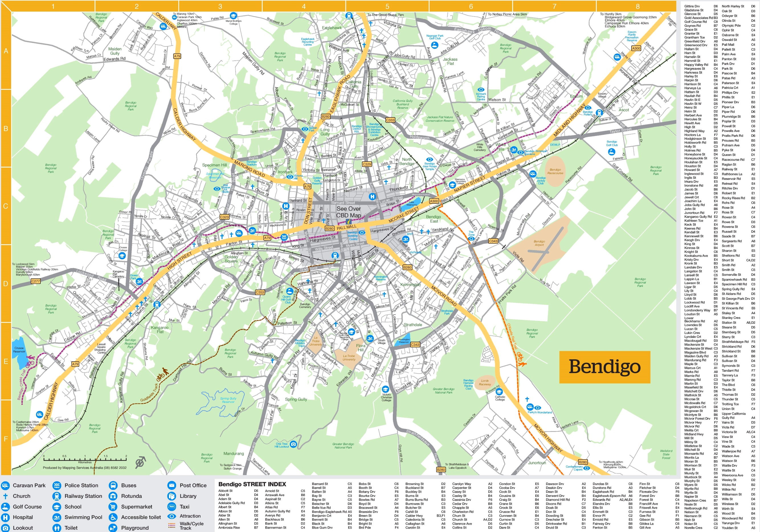 Bendigo tourist map