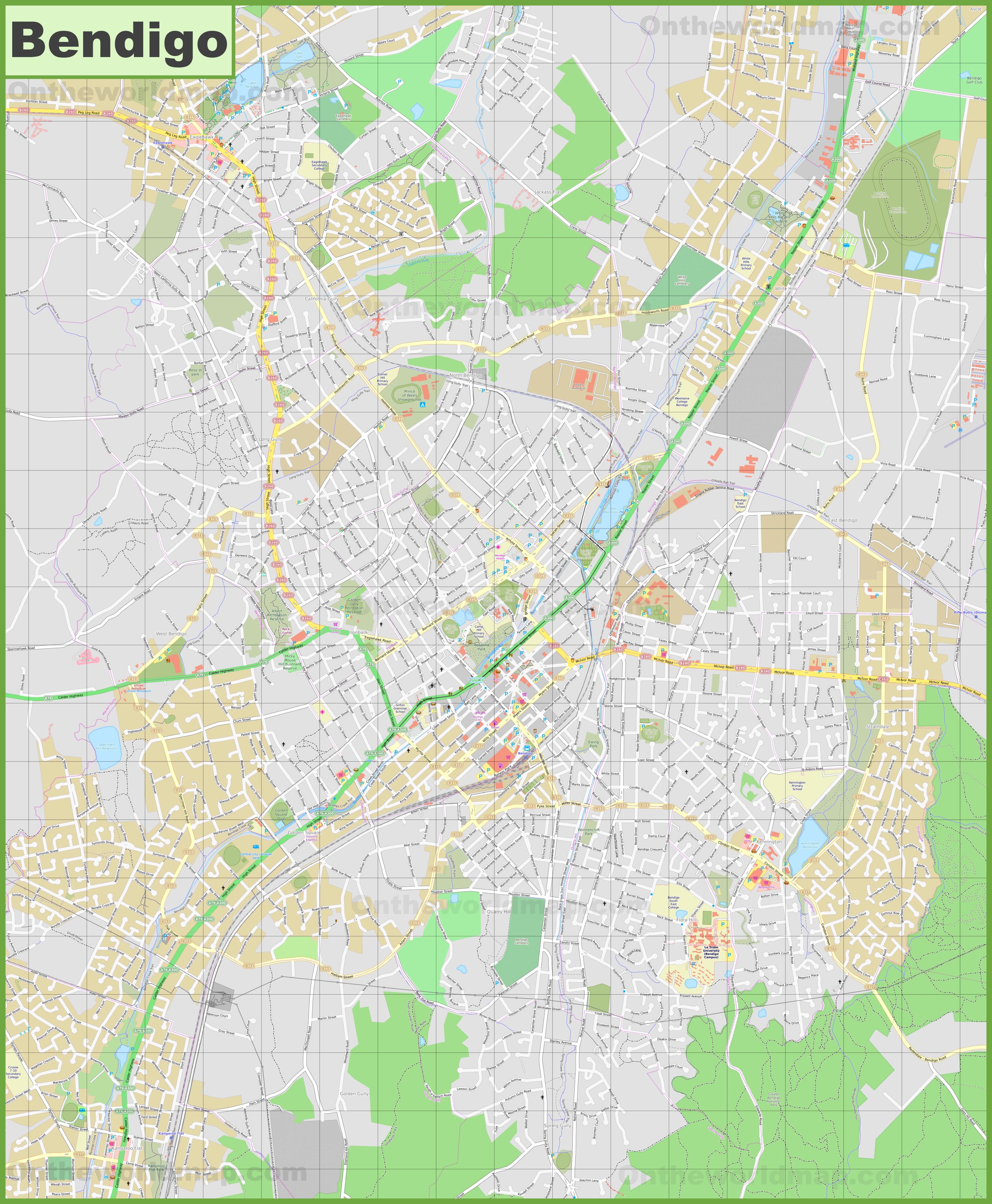 Large detailed map of Bendigo
