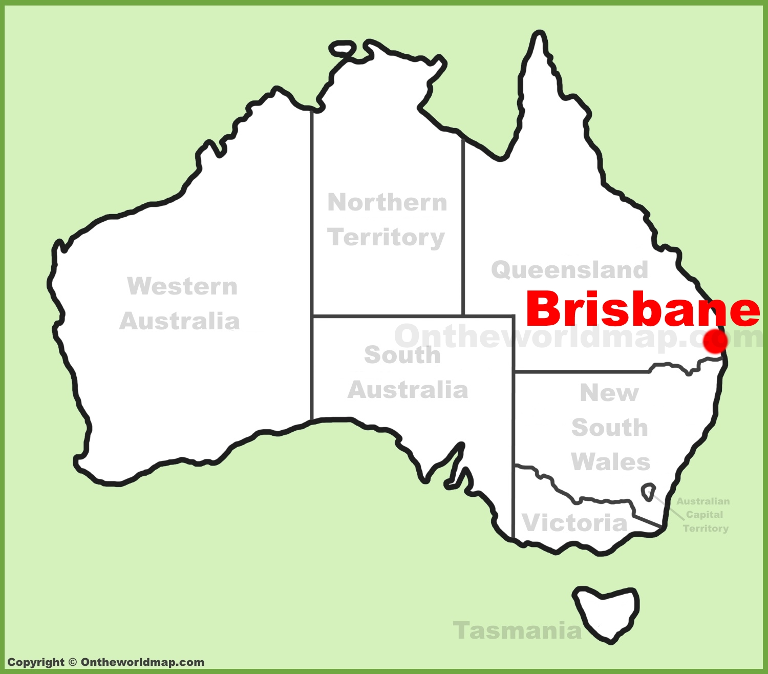 Brisbane location on the Australia Map