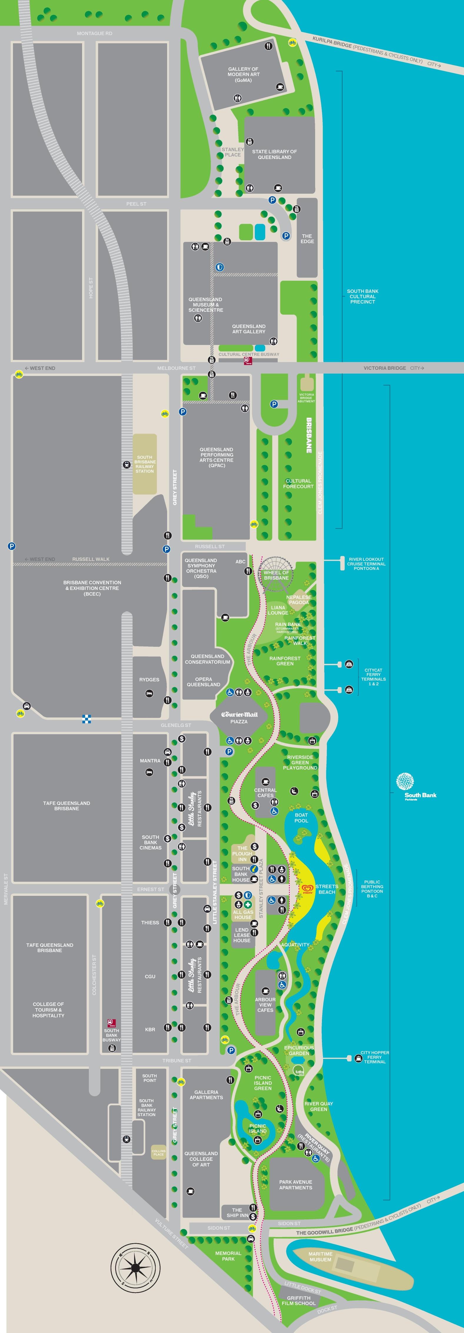Brisbane South Bank Map