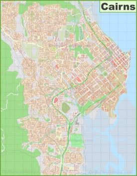 Large detailed map of Cairns