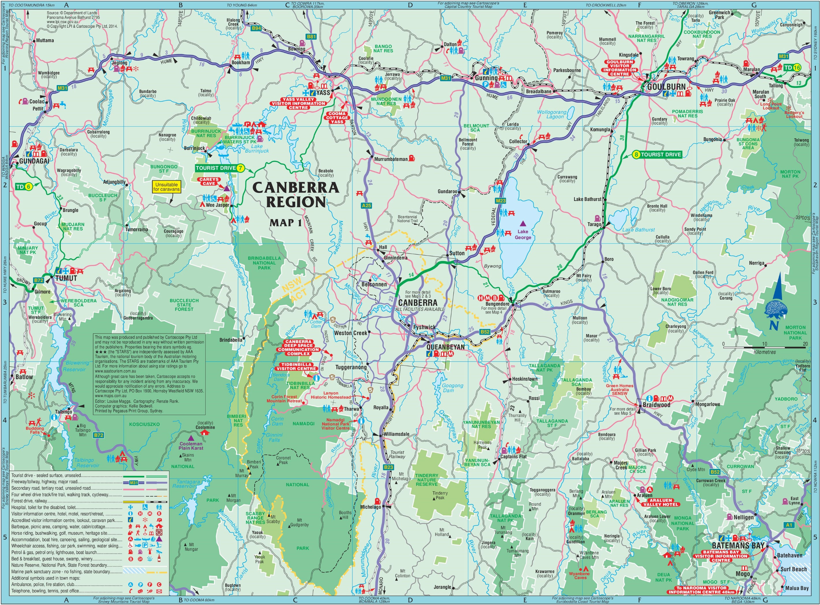 australian capital territory act tourist map