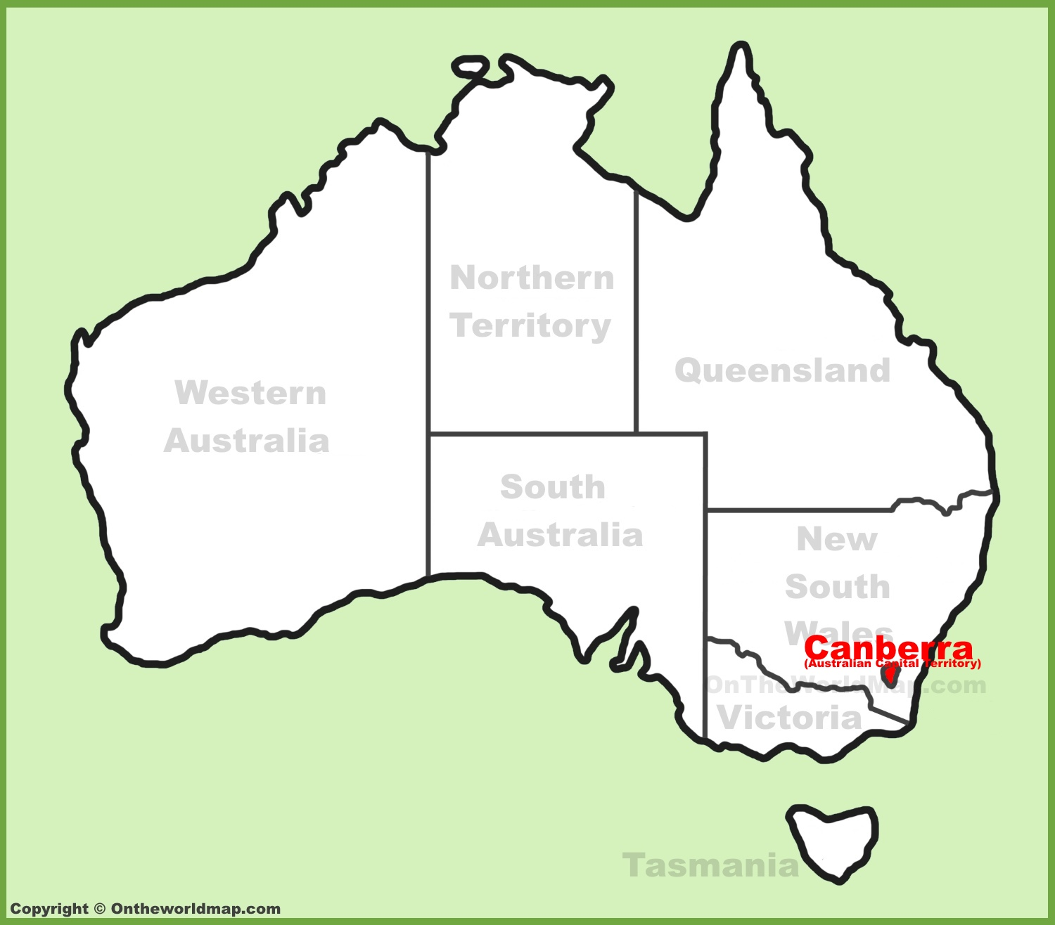 canberra location on the australia map