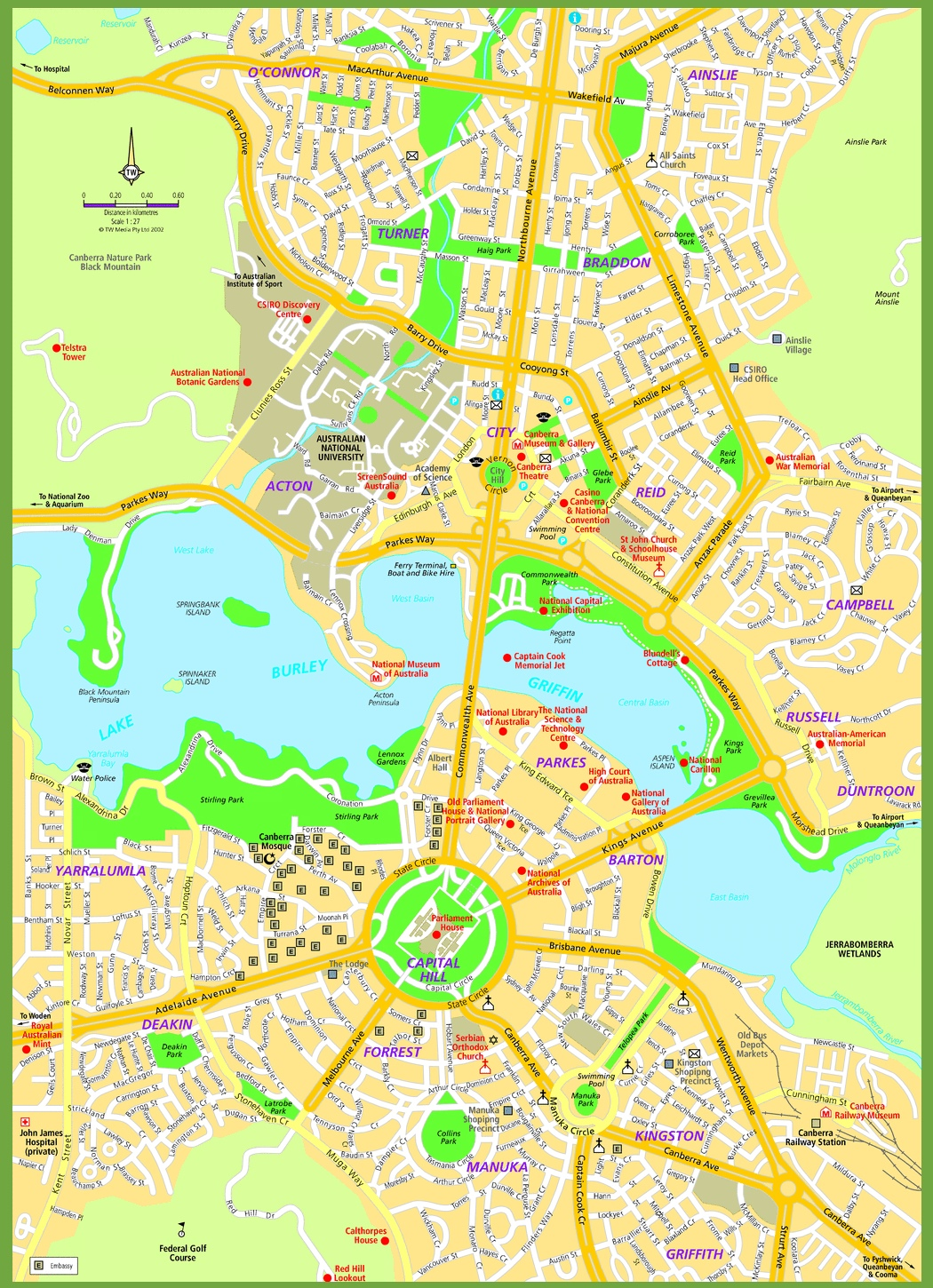 Map Of Canberra Canberra street map Map Of Canberra