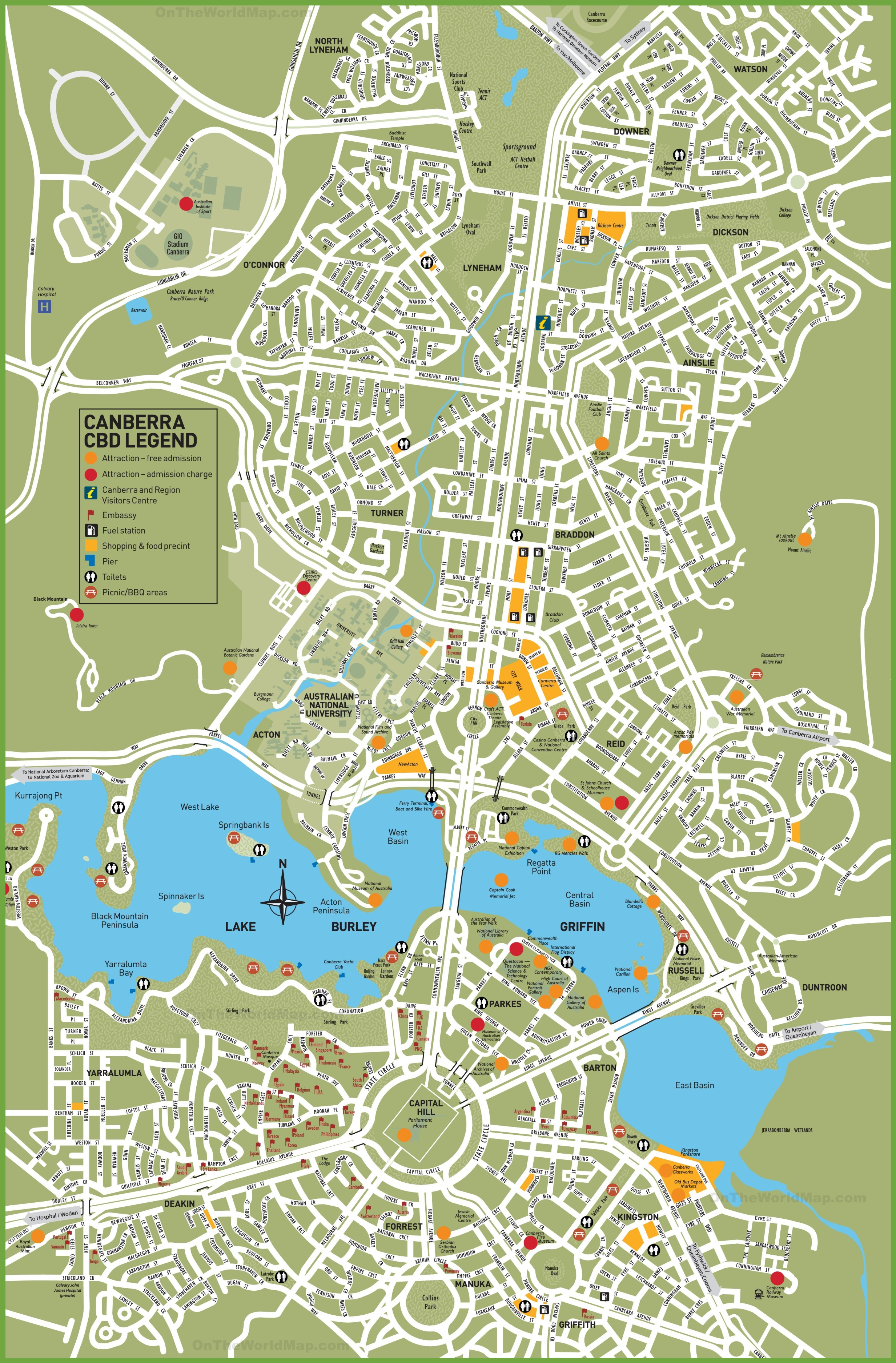 Map Of Canberra Canberra tourist map Map Of Canberra