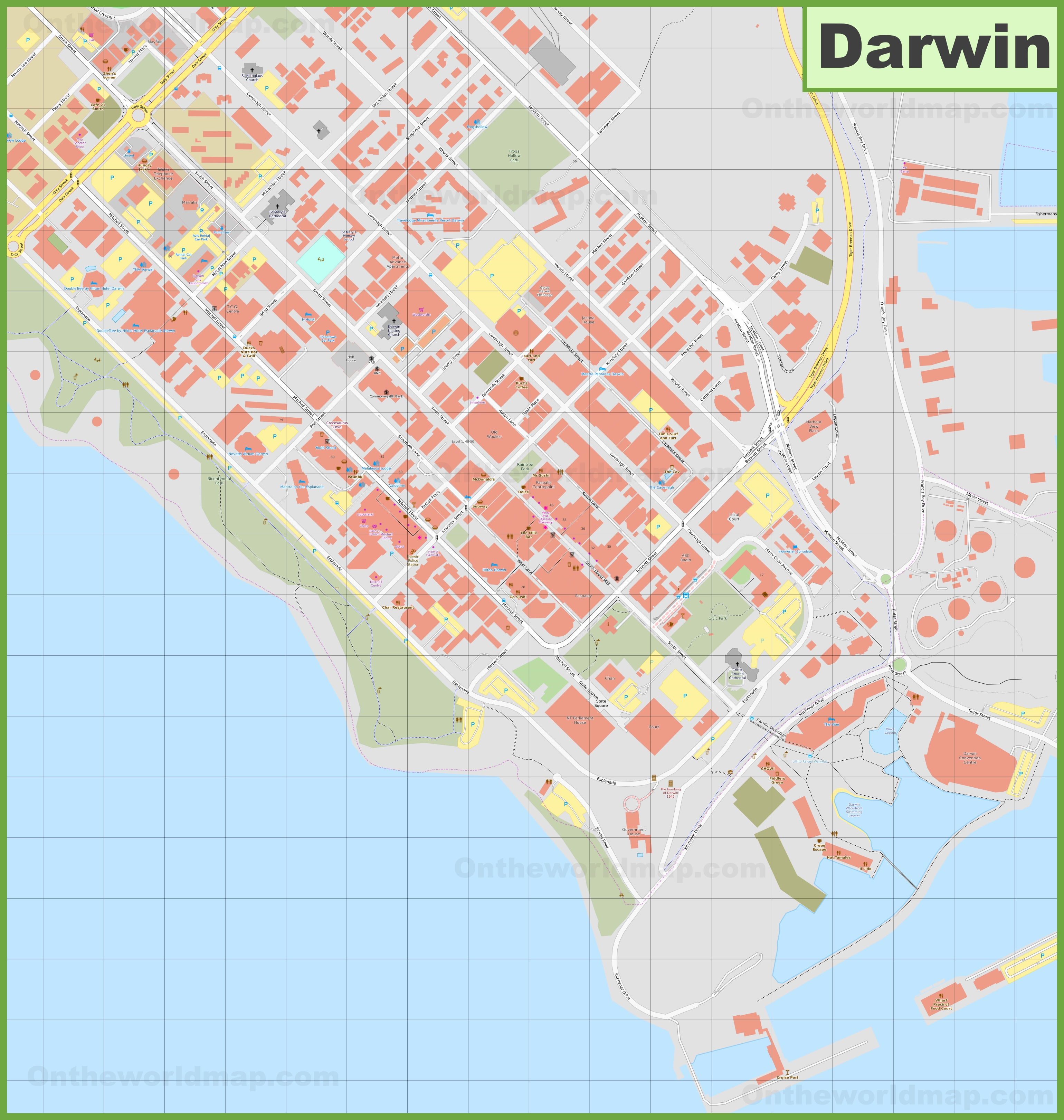 Darwin CBD map