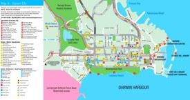 Darwin hotels and sightseeings map