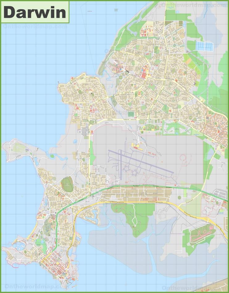 Large detailed map of Darwin