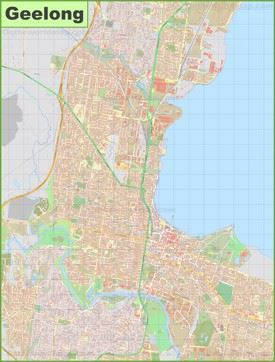 Large detailed map of Geelong