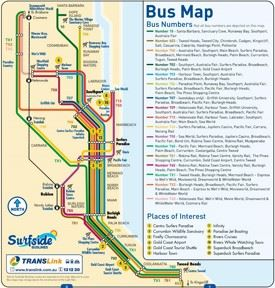 Gold Coast bus map