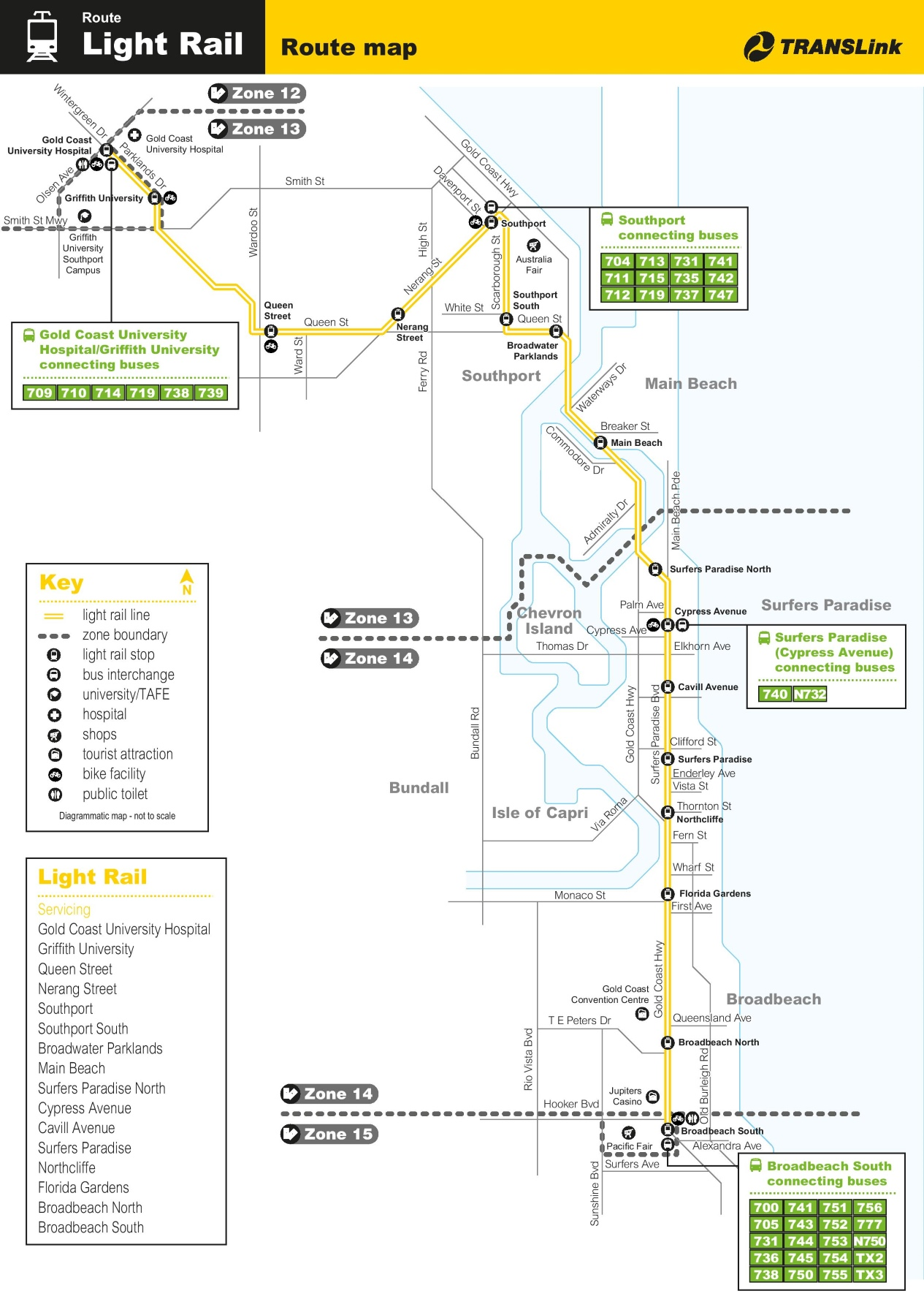 Gold Coast Light Rail Map Gold Coast light rail map