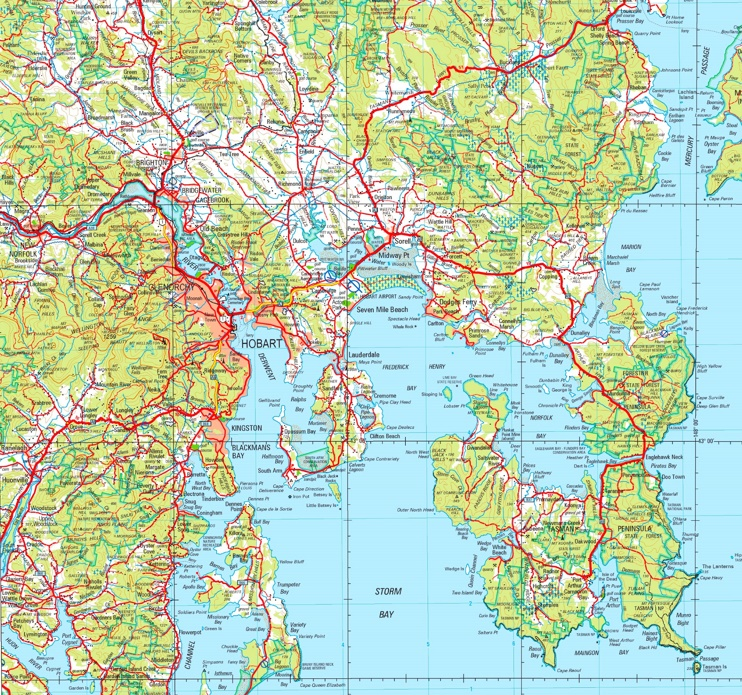Hobart area map