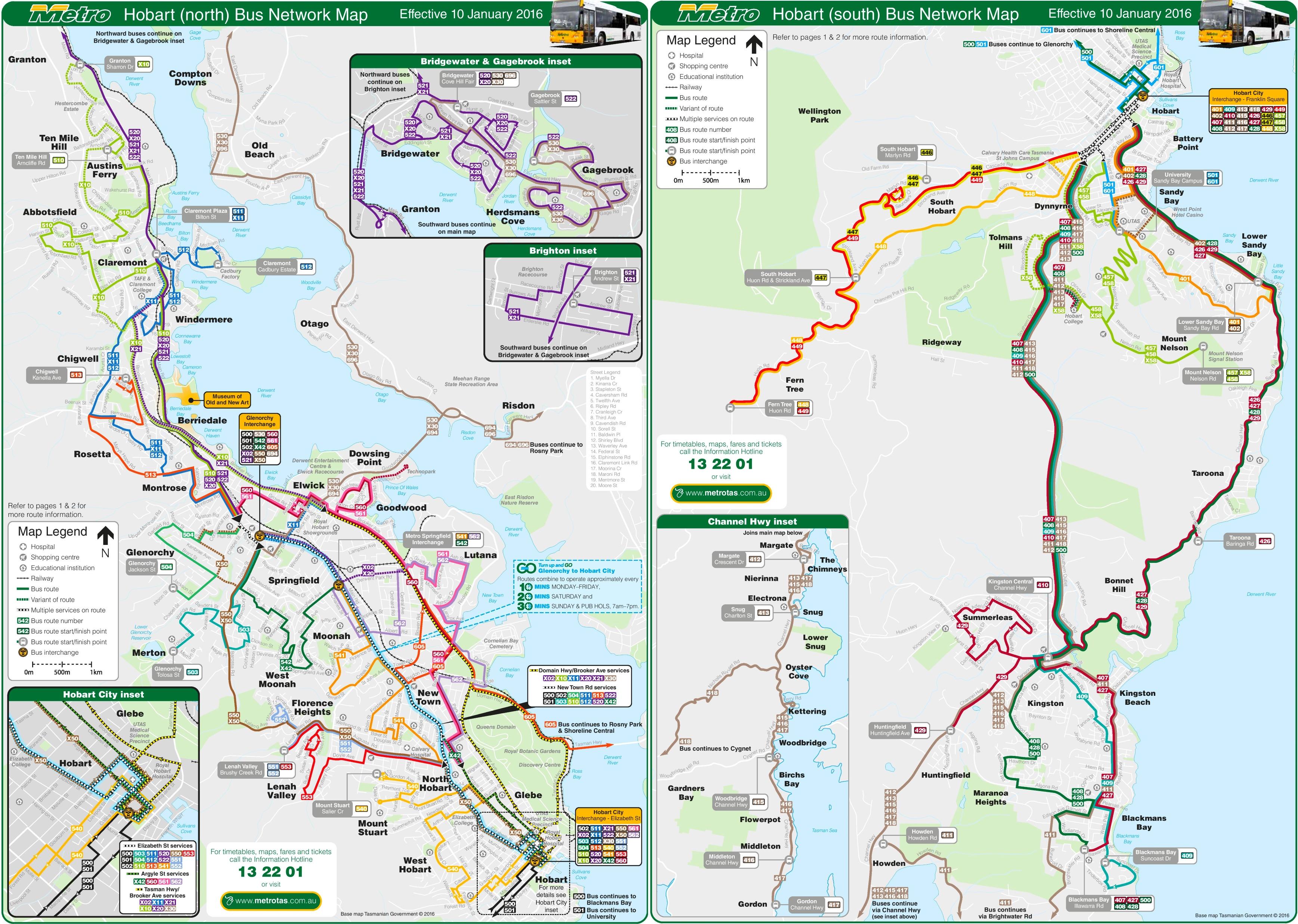 Hobart Bus map