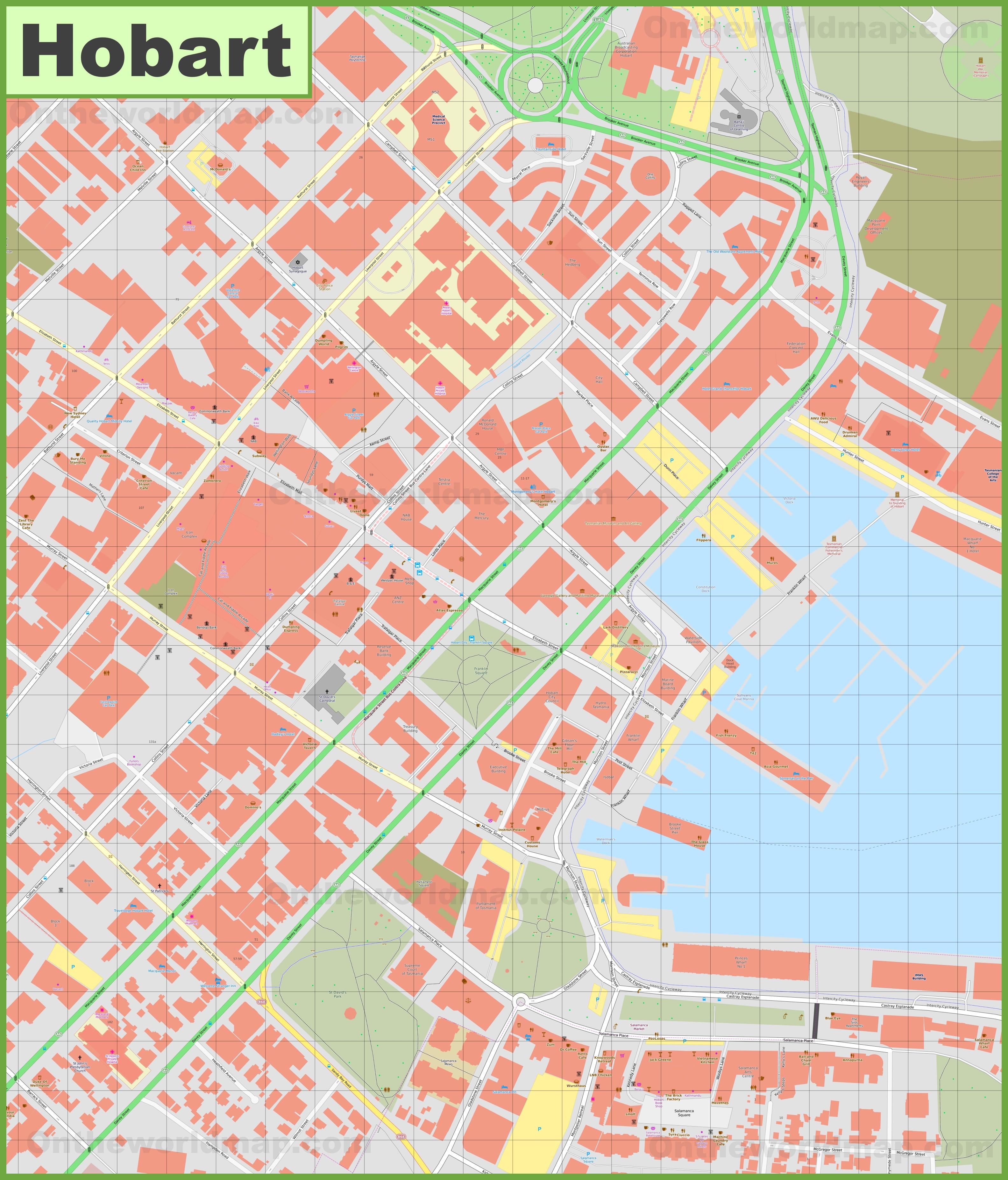 Hobart CBD map
