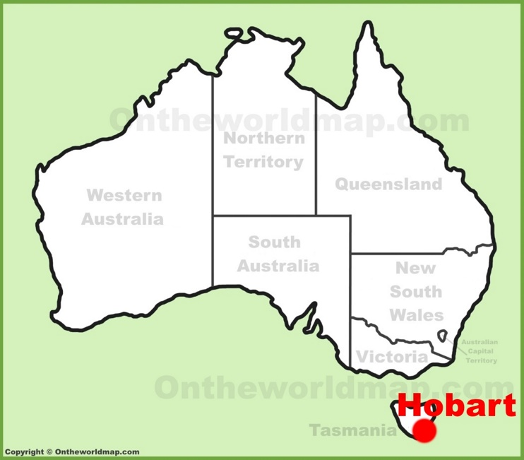 Hobart location on the Australia Map