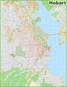 Large detailed map of Hobart
