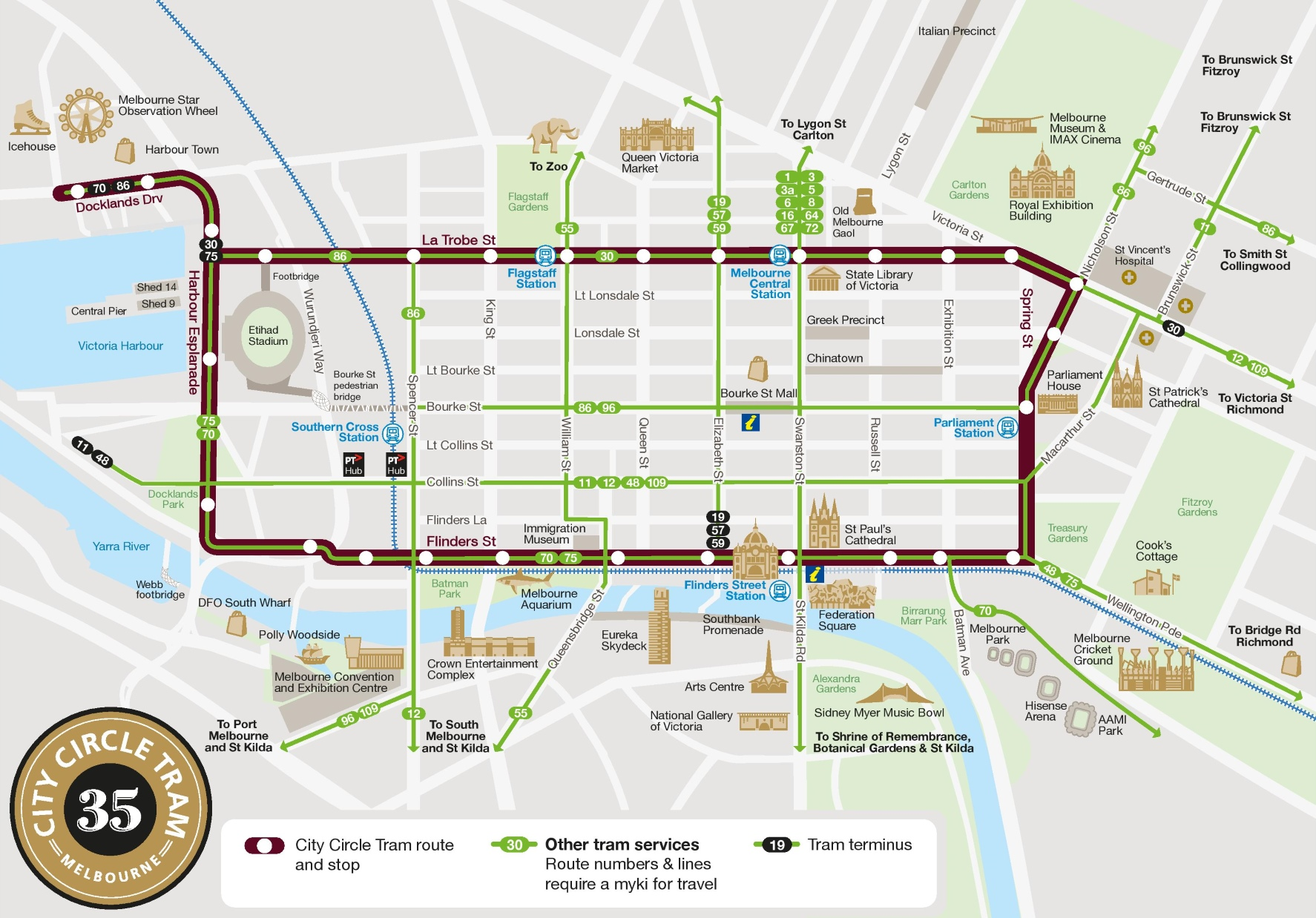 Tram Melbourne Map Melbourne city circle tram map