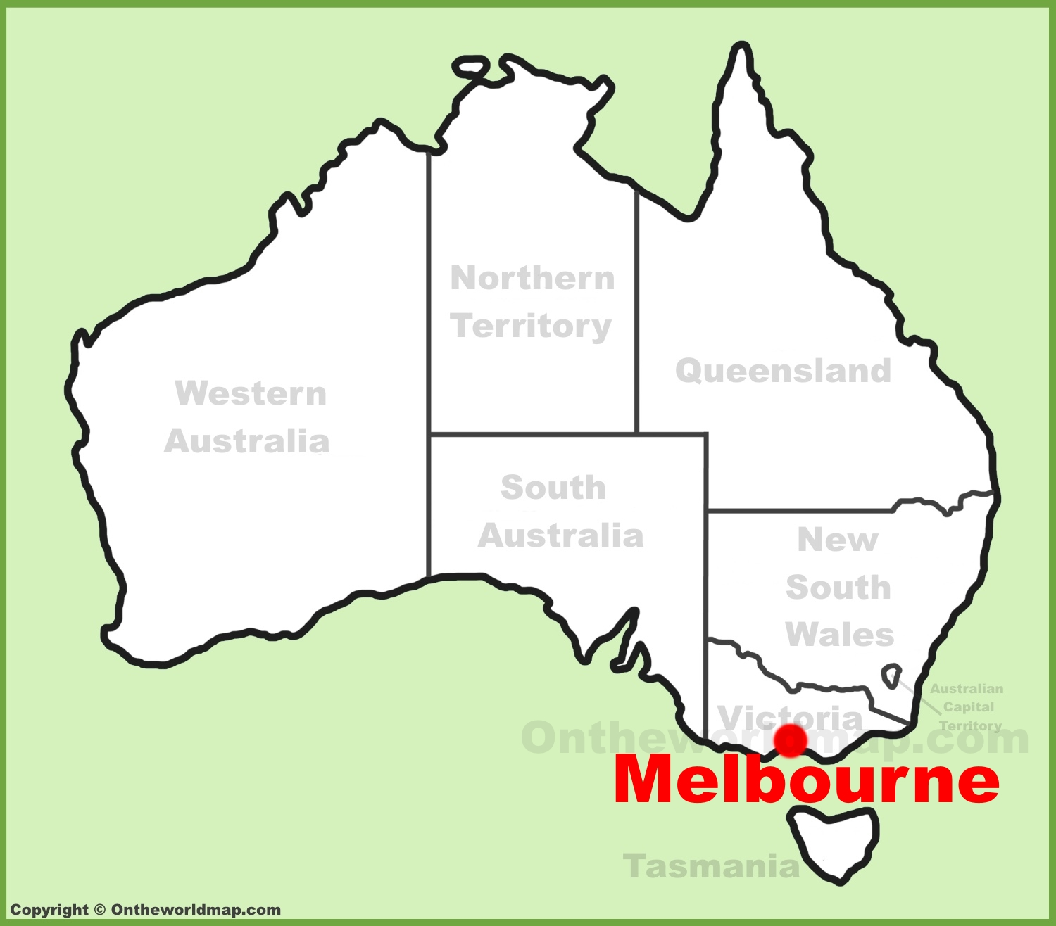 Melbourne Location On The Australia Map