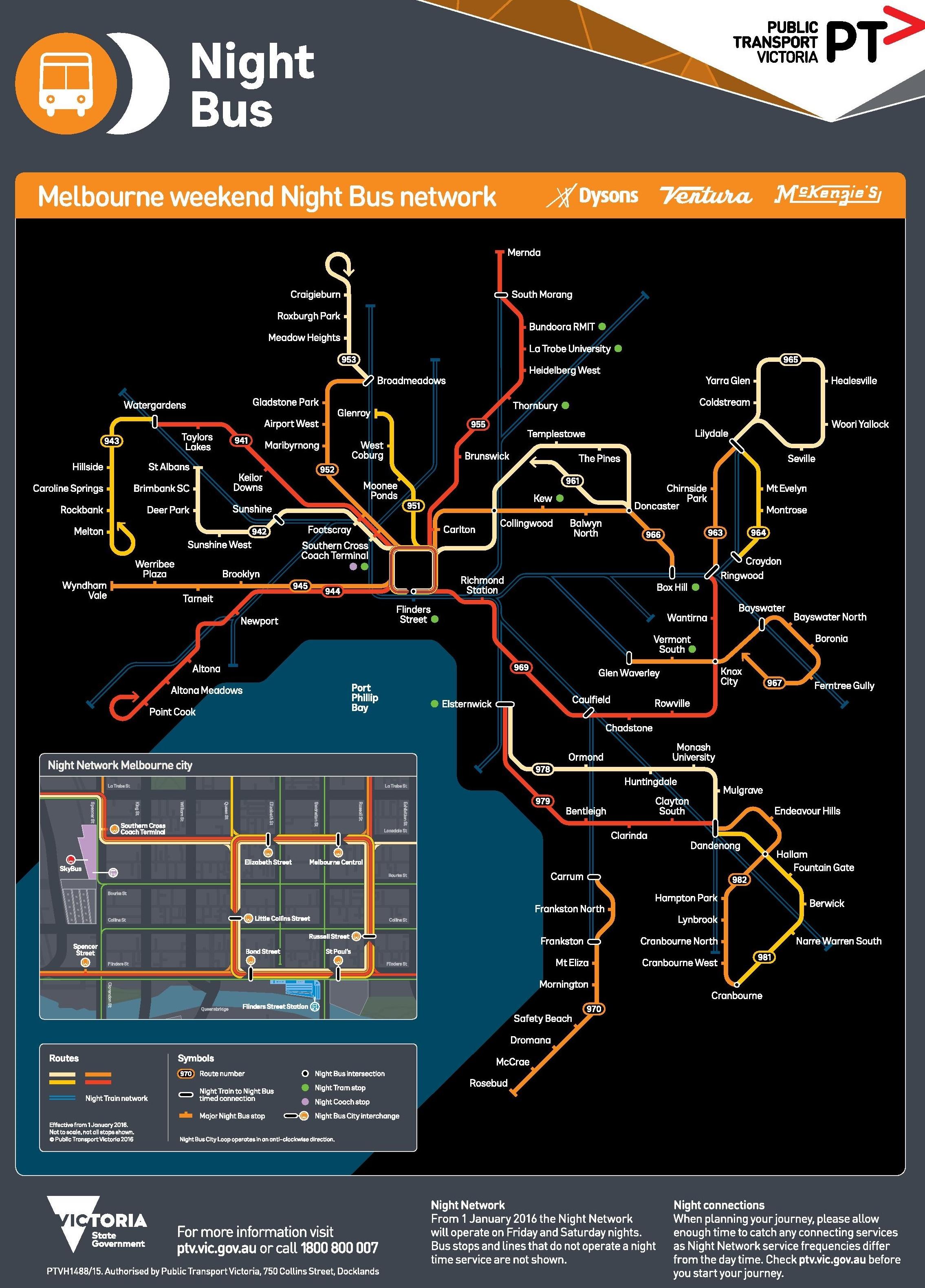 Melbourne Bus Map Melbourne night bus map