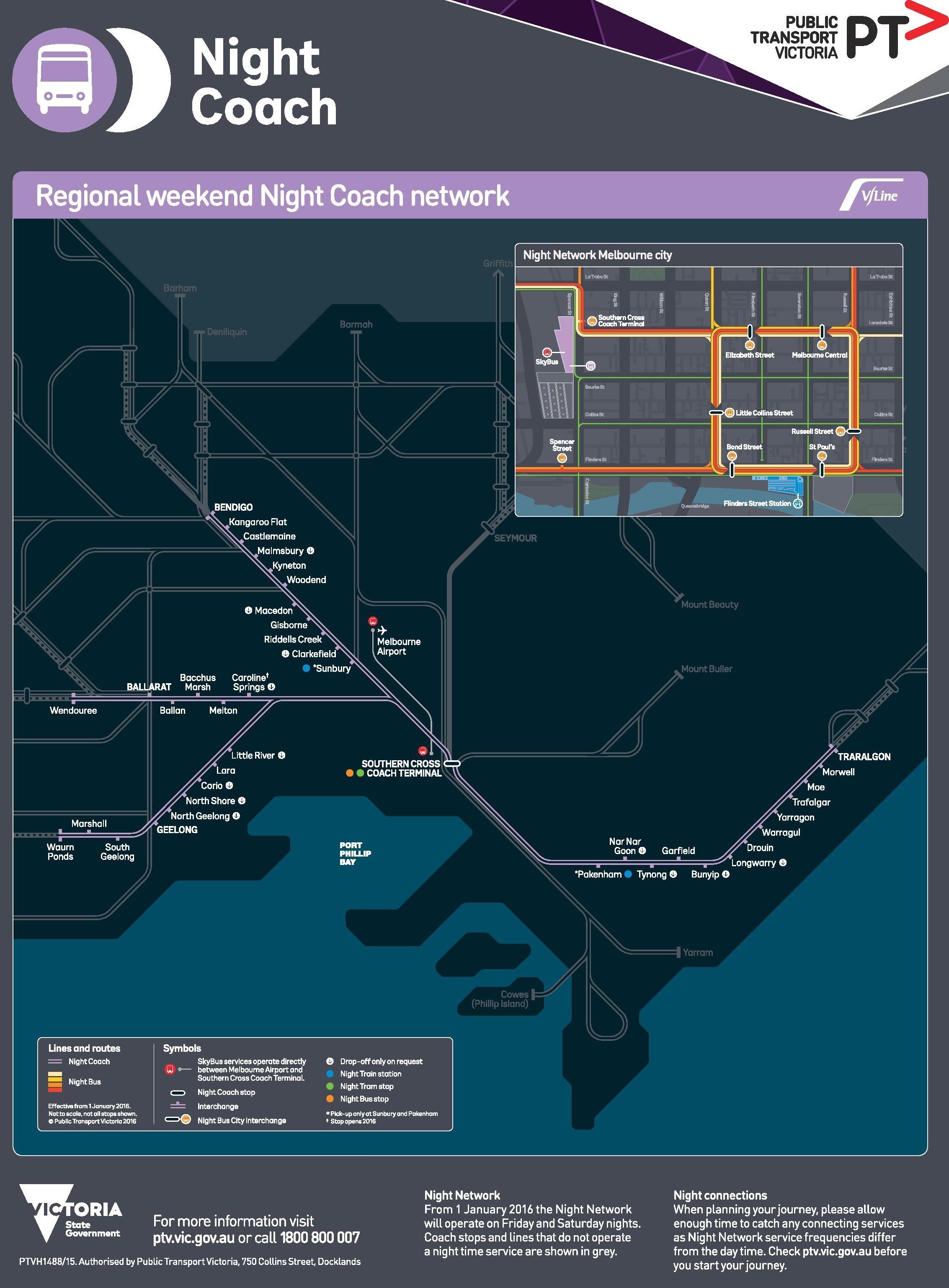 Melbourne night coach map