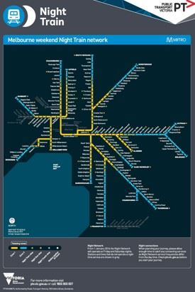 Melbourne night train map
