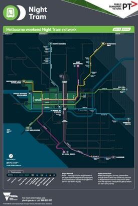 Melbourne night tram map